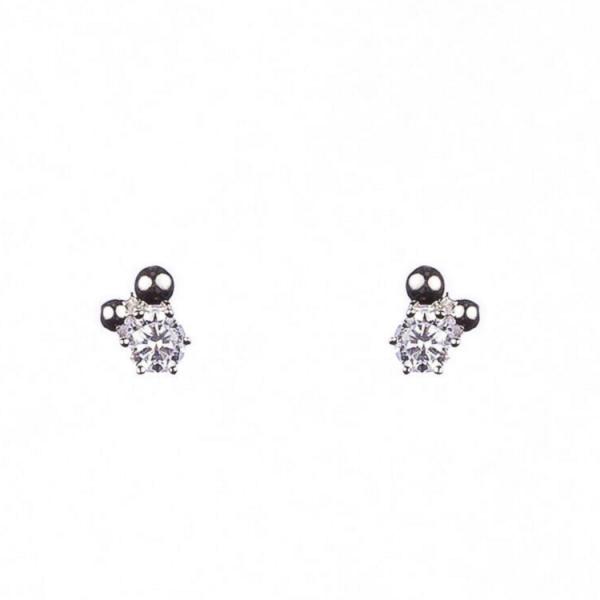 silverörhängen med silverkulor och sten