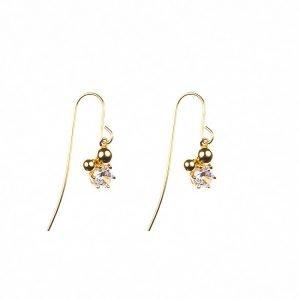 hängande örhängen i guld med kulor