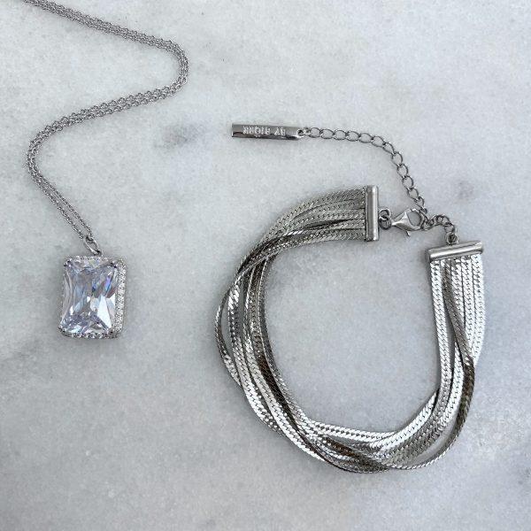 silverarmband med flera kedjor