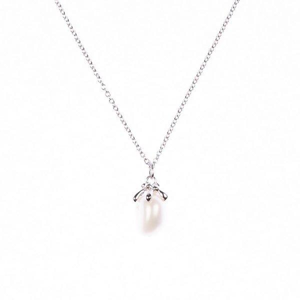 Halsband i Silver med pärla